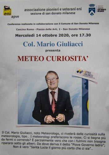 2020-10-14 - SAN DONATO MILANESE ( MI ) - CASCINA ROMA : Col. Mario GIULIACCI presenta METEO CURIOSITA'.